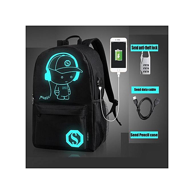 mode Xiuxingzi_USB External Charging Laptop Noctilucent voituretoon School sacs Student sac à dos à prix pas cher