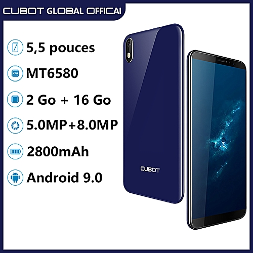 Cubot J5 5 5-Inch (2GB+16GB) Quad Core Android 9 0 Pie 5MP+8MP Smartphone  -Blue