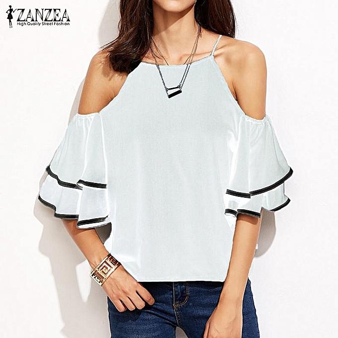 mode ZANZEA S-5XL femmes Off Shoulder O Neck Décontracté Loose hauts T-shirt été rayé Flounced Bell Sleeve Party Top bleusas(Off blanc) à prix pas cher
