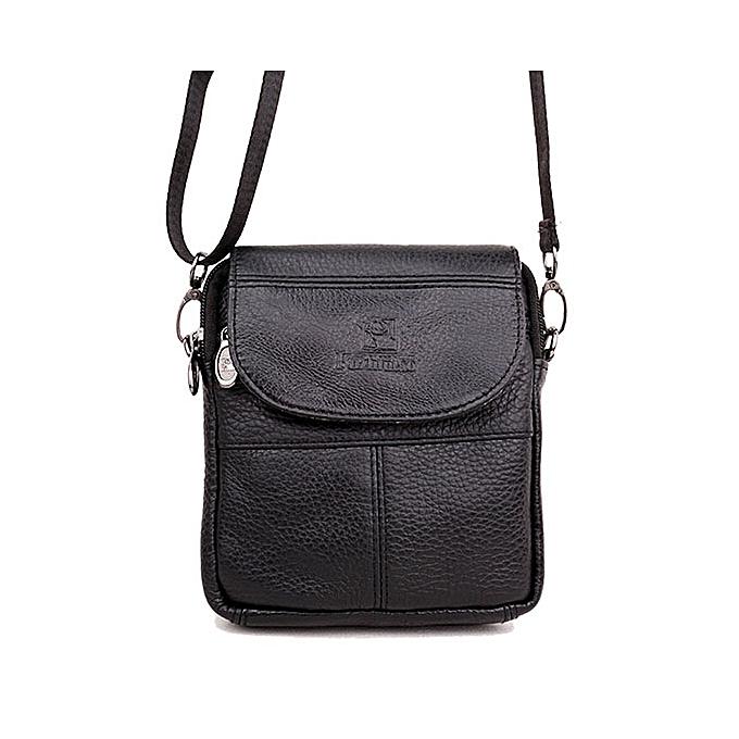 Other Vintage Mini  Leather Men bags noir marron Natural Cowhide Men's Messenger bag Prougeable Shoulder bags 2018(noir) à prix pas cher