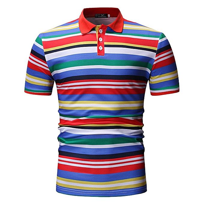 Fashion Men Spring Winter Stand Collar Casual Short Sleeve Striped Slim Top à prix pas cher