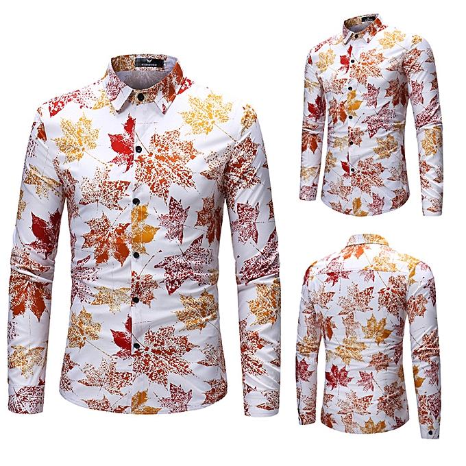 Fashion jiuhap store Men Fashion Maple Leaf Printing Printed Blouse Casual Long Sleeve Shirts Tops à prix pas cher