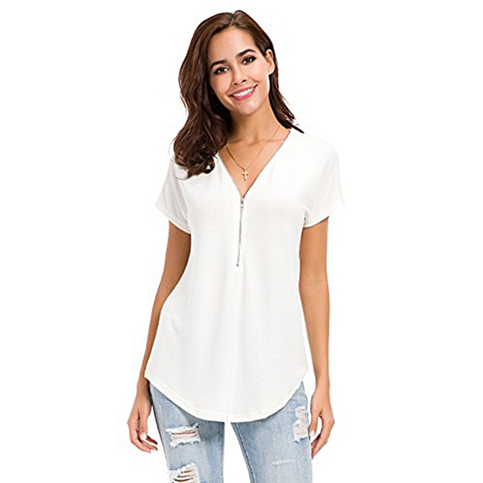 Tauntte femmes Loose Zip Up V Neck Short Sleeve Tops Tunic Casual T Shirts Blouse (blanc) à prix pas cher