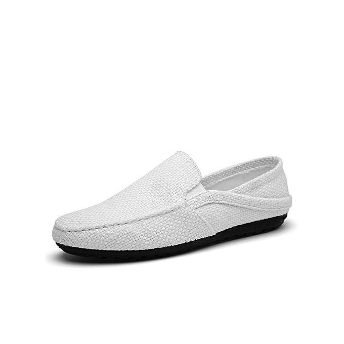 HT Pour des hommes Slip-On toile Flats-blanc à prix pas cher