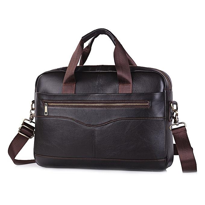 Other Brand  Leather Shoulder Bag  Men's Handbag Male Cowhide Messenger Bag Cross Body Handle Pack 15' Briefcase Portfolio(G12) à prix pas cher