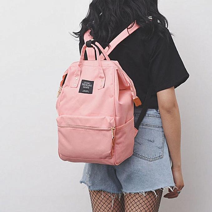 Fashion Solid Backpack School Travel Bag Double Shoulder Bag Zipper Bag femmes Canvas Backpack Chain Ring Teenage Girls Backpack  Zer à prix pas cher