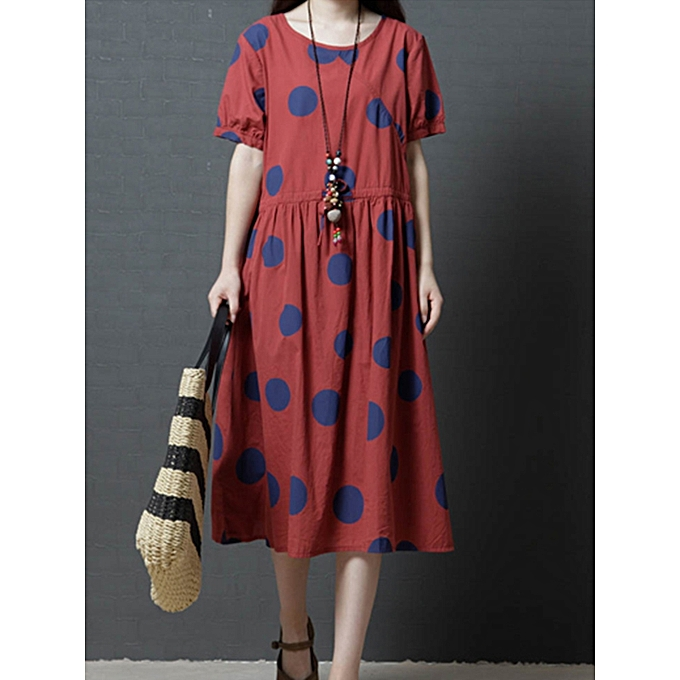 Fashion Vintage femmes Polka Dot Print Short Sleeve Dress à prix pas cher