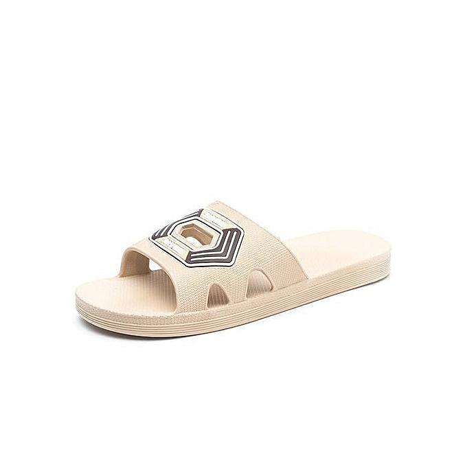OEM Men Summer Slippers Outdoor Beach Sandals Flip Flop Slip On Fashion Slippers Casual Flat Slides-khaki à prix pas cher