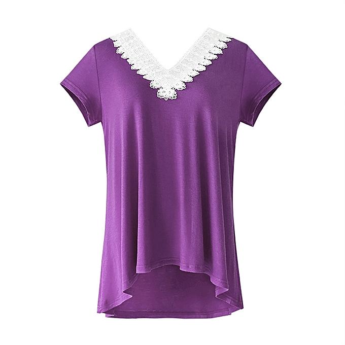 Generic Generic femmes Loose V Neck Patchwork Lace manche courte T-Shirt hauts chemisier A1 à prix pas cher