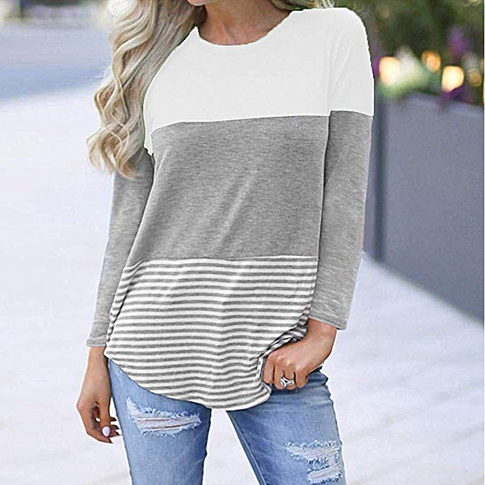 Fashion Xiuxinzgi femmes  Casual Long Sleeve Lace Striped  Patchwork Stretchy Tops Blouse T-Shirt à prix pas cher