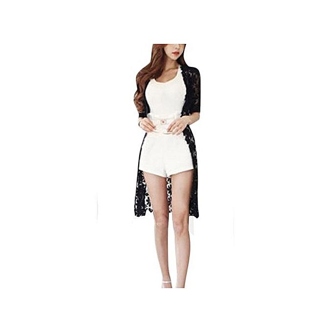 mode été femmes Sexy Embroidery Lace Crochet Long hauts chemisier Shirt Décontracté voituredigan noir à prix pas cher