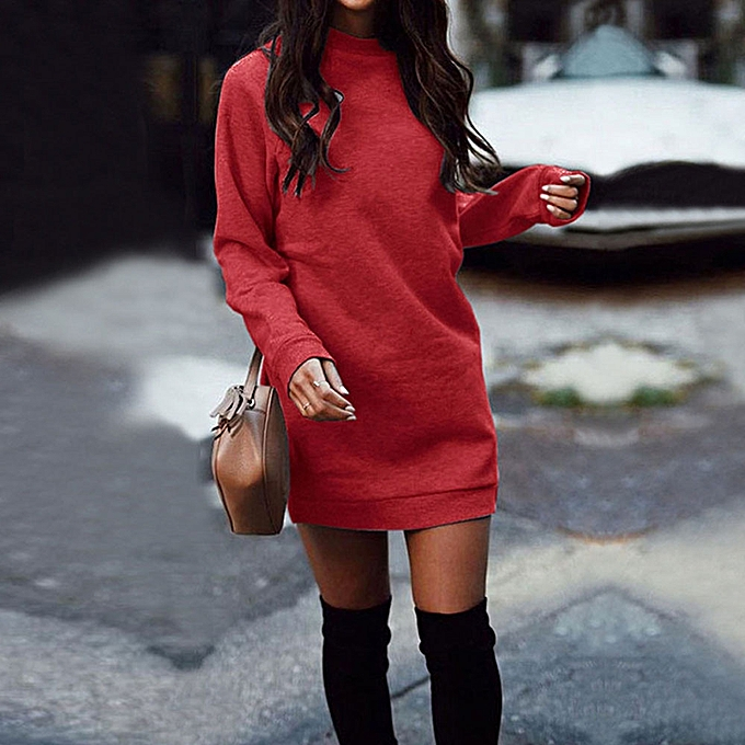 Fashion femmes Winter Warm Round Neck Long Sleeve Mini Dress Party Sweatshirt Dress RD L à prix pas cher