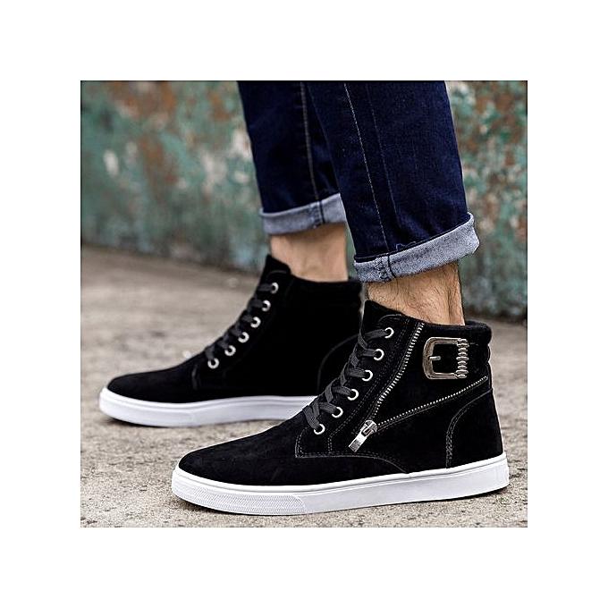 mode Hiamok_Hommes High Aidez-moi chaussures mode Warm bottes Footwear Top toile Décontracté chaussures BK 40 à prix pas cher