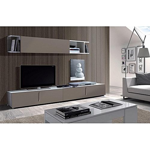 Meuble tv lyon 200 cm blanc gris