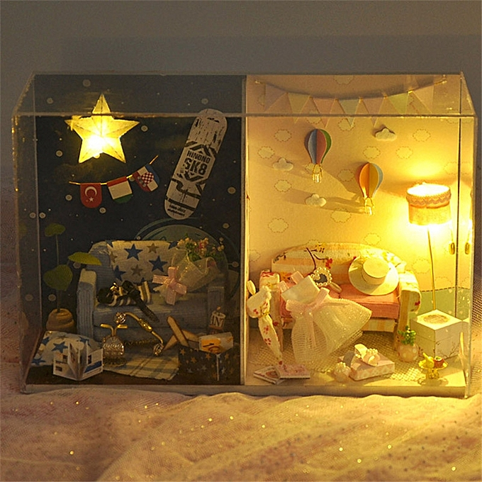 UNIVERSAL T-Yu TW14 Memorial Day DIY Doll House With Cover Light Gift Collection Decor Toy- à prix pas cher