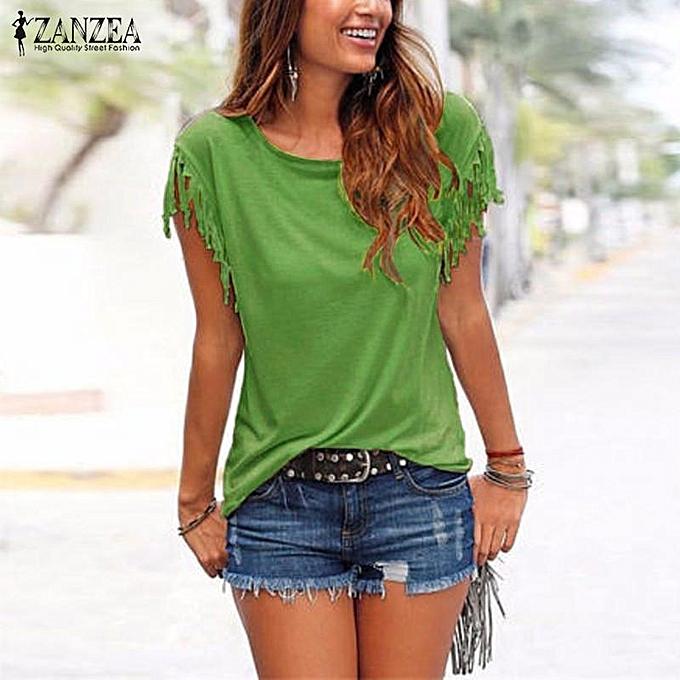 Zanzea ZANZEA bleusas  été femmes chemisiers mode Solid hauts Tees Décontracté Tassel manche courte Shirts OverTailled S-5XL ( vert) à prix pas cher