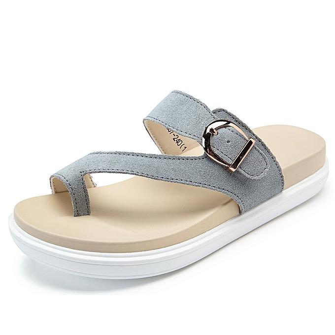 Fashion Beach Buckle Clip Toe Flat Flip Flops Sandals à prix pas cher