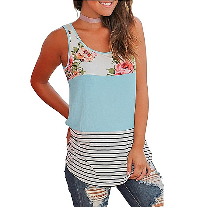 Generic Generic femmes Casual Floral Stripe Print Patchwork Sleeveless Tank Top Vest Blouse   A1 à prix pas cher