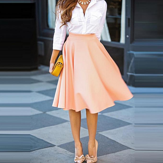 mode Ladies Vintage femmes Solid High Waist  Pleated Swing  Décontracté Loose jupe à prix pas cher