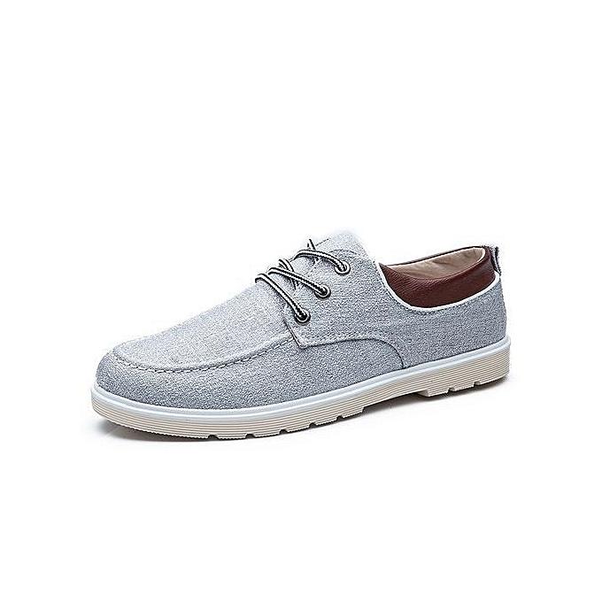 Generic 2017 nouveau Plus Siz Hommes chaussures Spbague été respirant Décontracté chaussures Hommes toile chaussures Faible Laces chaussures Flats Pantoufles-lumière gris à prix pas cher