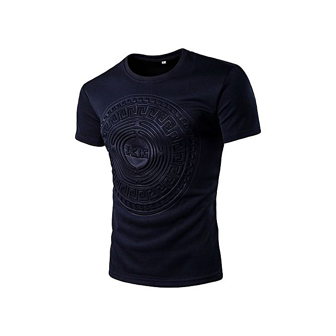 Generic Refined Hommes& 039;s Leisure T-shirt manche courted T-shirts Round Neck Solid Couleur Circular Pattern Slim grand Taille Personality T-shirt à prix pas cher