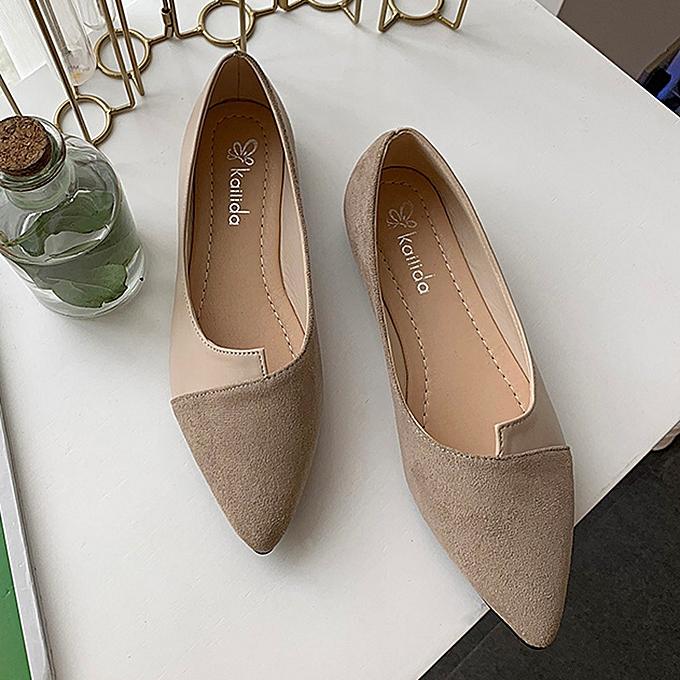 mode Hiamok femmes Splice Couleur Flats mode Pointed Toe Ballerina Ballet Flat Slip On chaussures à prix pas cher