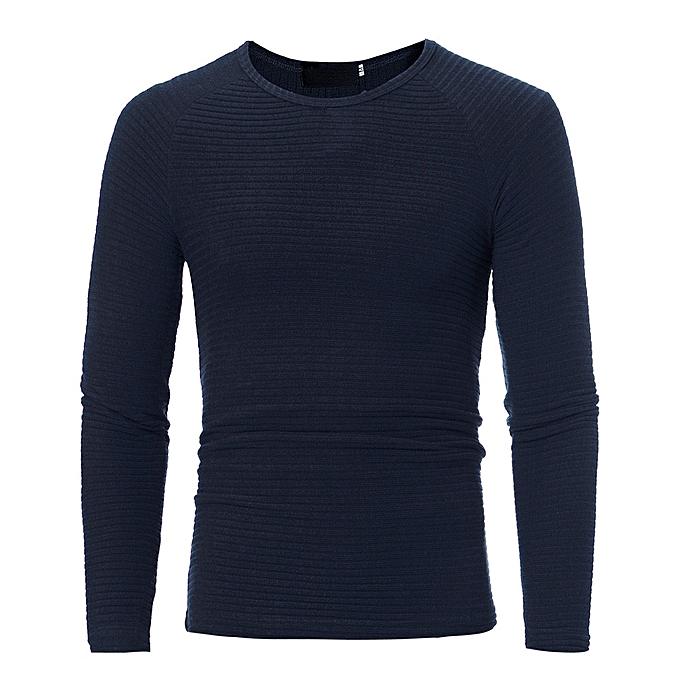 Fashion Man's Autumn Winter Casual O-Neck Men's Slim Sweaters Tops Blouse  -Navy à prix pas cher