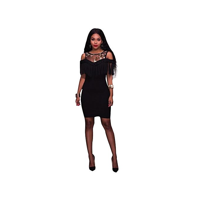OEM nouveau style nouveauest femmes Evening Party transparent Sleeveless lace up O-Neck Tassel Solid Couleur Slim Sexy Robe-noir à prix pas cher
