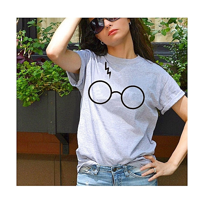 Other Lady& 039;s Round Collar courte-sleeved Creative Personality Glasses T-shirts-gris à prix pas cher