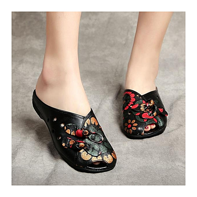 Fashion Fashion femmes Large Taille Cow Leather Floral Print Backless Slip On Loafers Sandals à prix pas cher