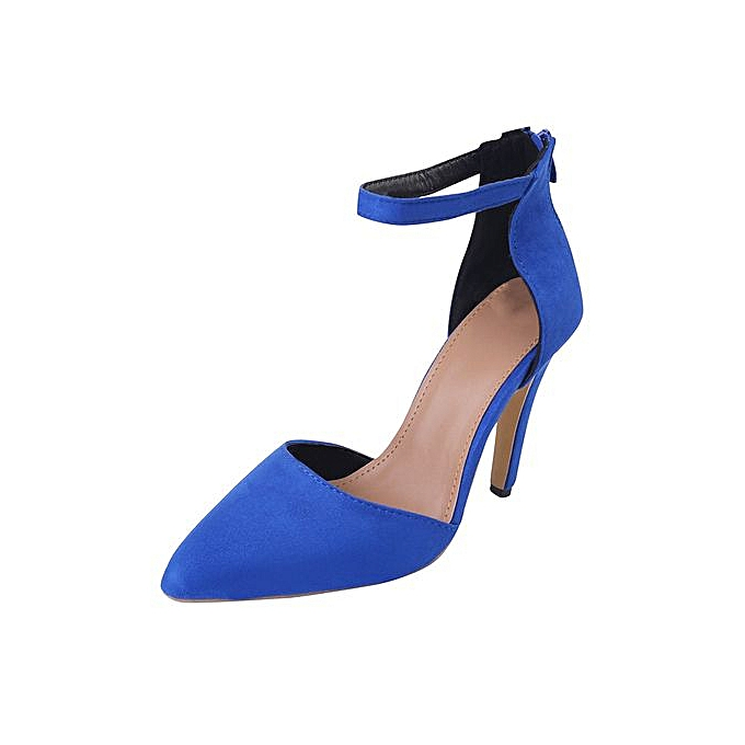 Fashion femmes Ladies Ankle Thin High Heels Block Pointed Toe Party Single chaussures à prix pas cher