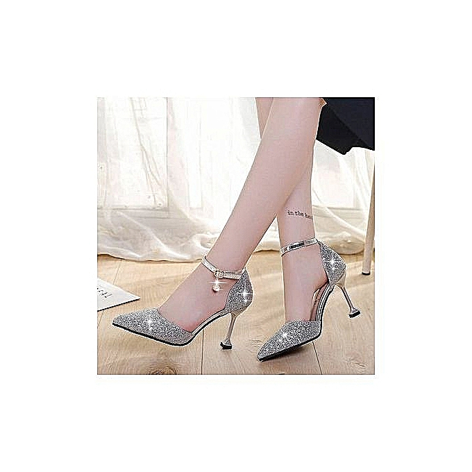Fashion Fashion High Quality Crystal Wedding chaussures Fairy Stiletto High Heel chaussures-argent à prix pas cher
