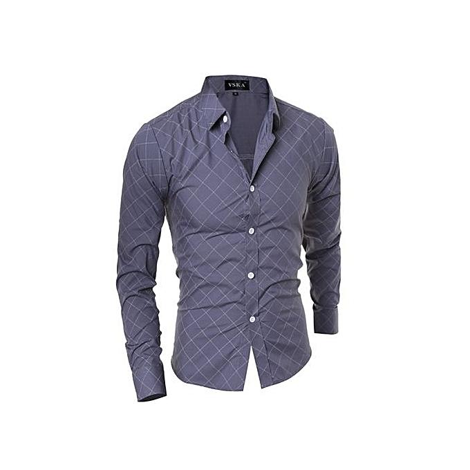 Generic Men's Classical Diamond Pattern Long Sleeve POLO Shirt (gris) à prix pas cher