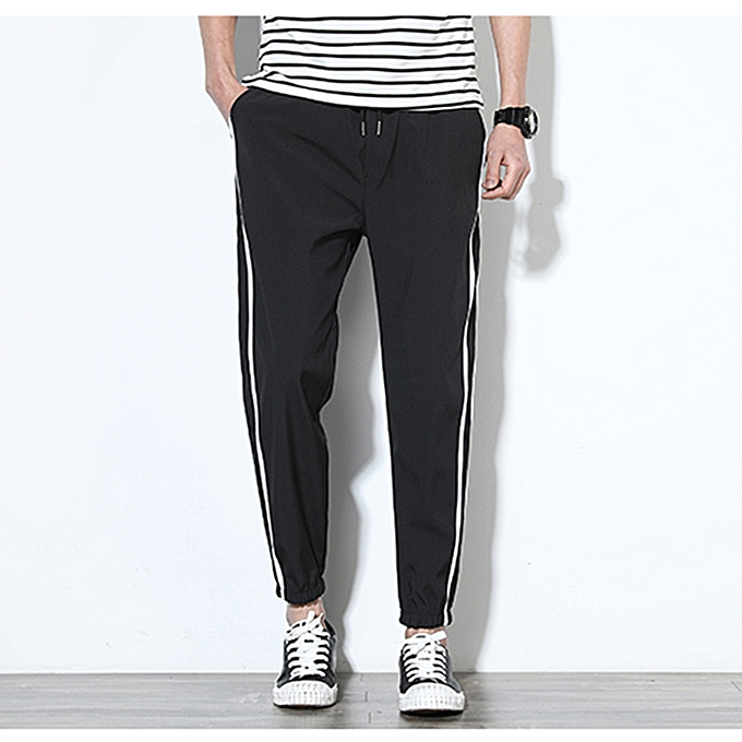 d47a35284861 Men's Tracksuit Bottoms Silky Joggers Jogging Striped Gym Sports Pants  Trousers - Black