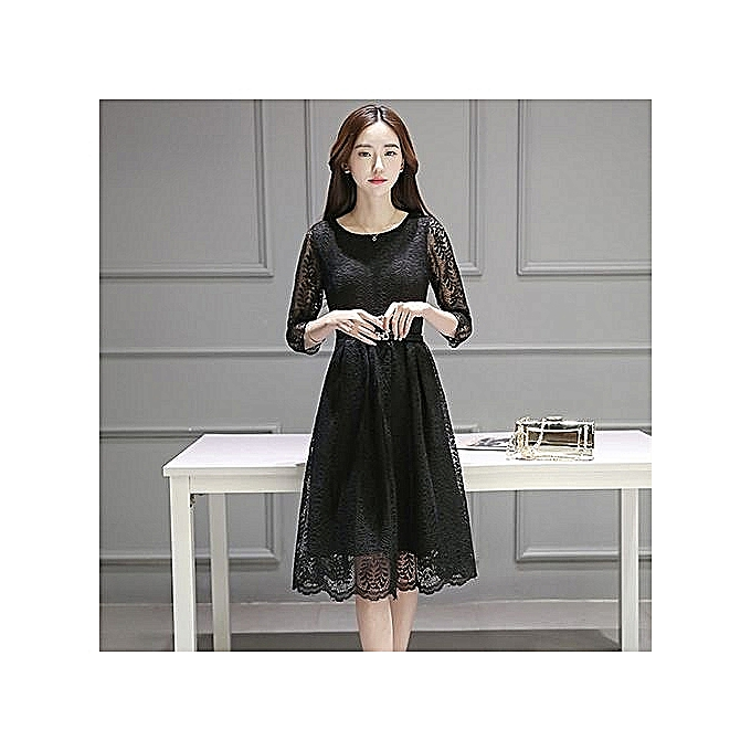 mode Plus Taille Lace Robe femmes O-Neck Ninth Sleeve A-line Party Gown Knee-longueur grand Taille Robe Plus Taille Lace Robees—noir à prix pas cher