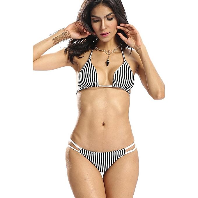 mode Ensemble Bikini Pour Femme - Noir   Blanc à prix pas cher