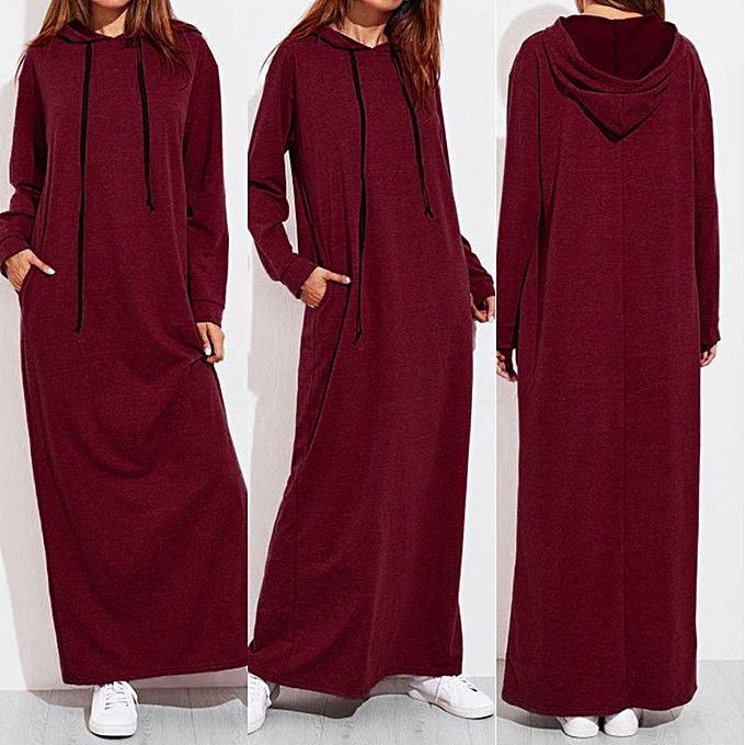 mode femmes Maxi Robe manche longue encapuchonné Ladies Décontracté sweat à capuches Long Robees rouge à prix pas cher