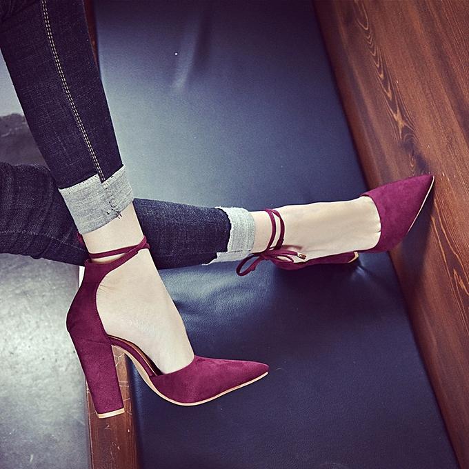 Générique Sedectres WoHommes  Solid Color Pointed Shoes Thick Heel Heel Heel Suede High Heeled Shoes Sandals Wine-Wine à prix pas cher  | Jumia Maroc a1c911