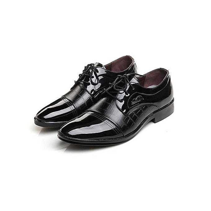 Generic Lined Perforated Robe chaussures  Hommes cuir Lined Robe Oxfords Lace-up Super Plus Taille-noir à prix pas cher