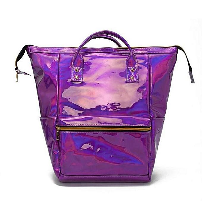 UNIVERSAL Fashion femmes Hologram Laser Leather Backpack Girls School Student Bag Handbag à prix pas cher