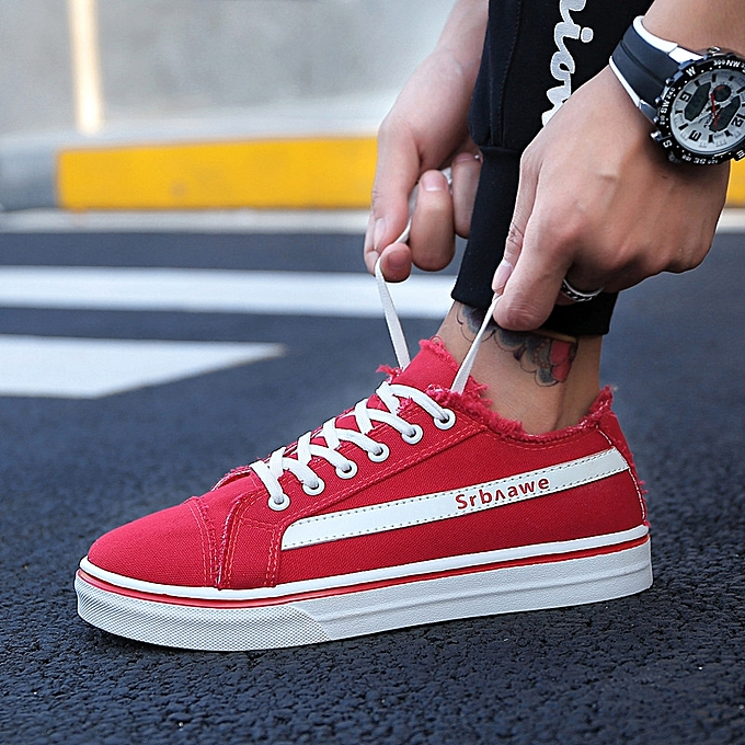 OEM New Korean canvas chaussures trend personality chaussures hommes casual sports increased single chaussures-rouge à prix pas cher