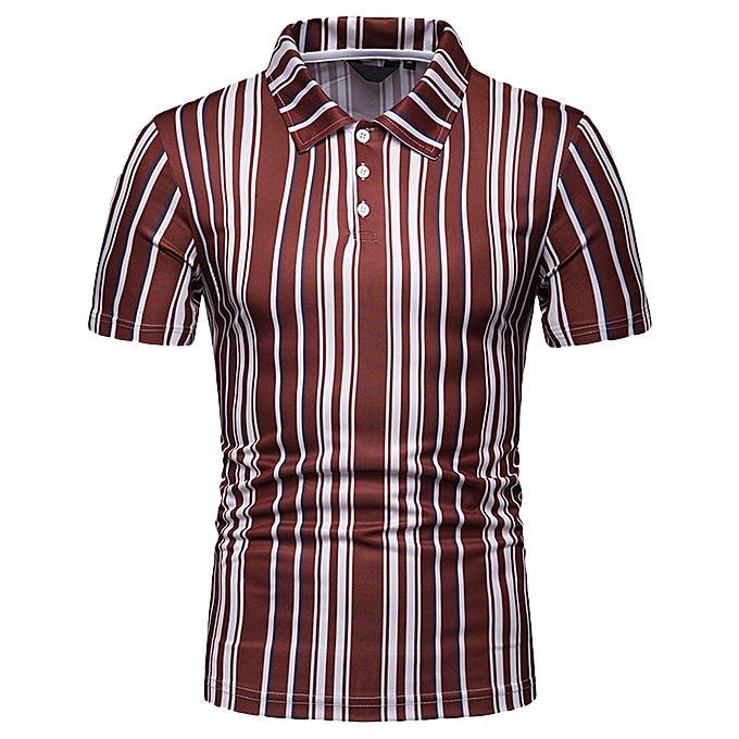 Fashion Men's Summer Causal Striped Button Printed Stand Collar Short Sleeve Top Blouse à prix pas cher