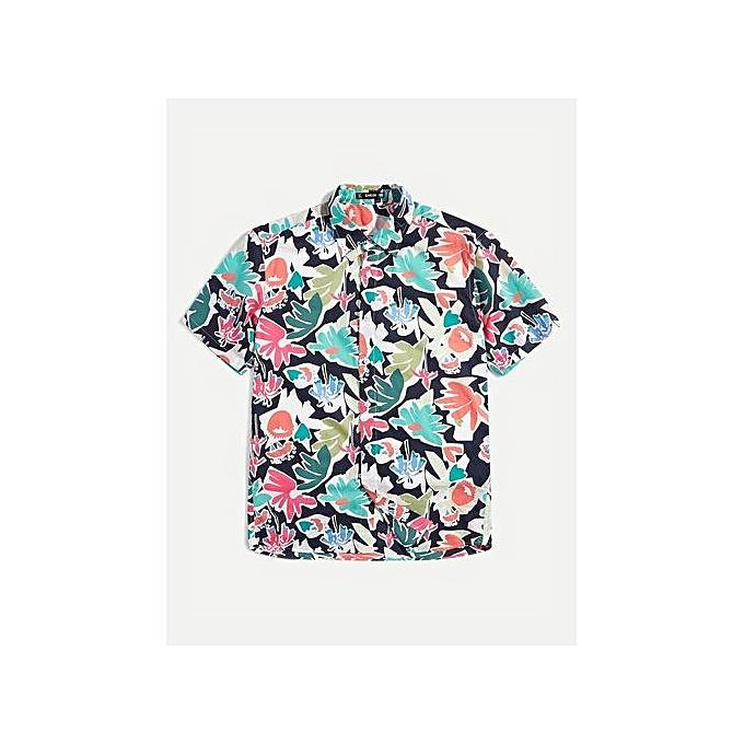SHEIN Men Tropical Print Shirt à prix pas cher