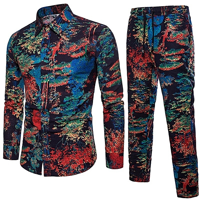 Other Men's Couleurful Print Long Sleeve Shirt Pants Suit à prix pas cher