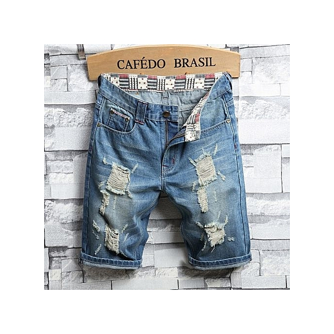 mode grand Taille Hommes& 039;s denim courtes five pants hole mode causal Slim pants été Pour des hommes pants-bleu à prix pas cher