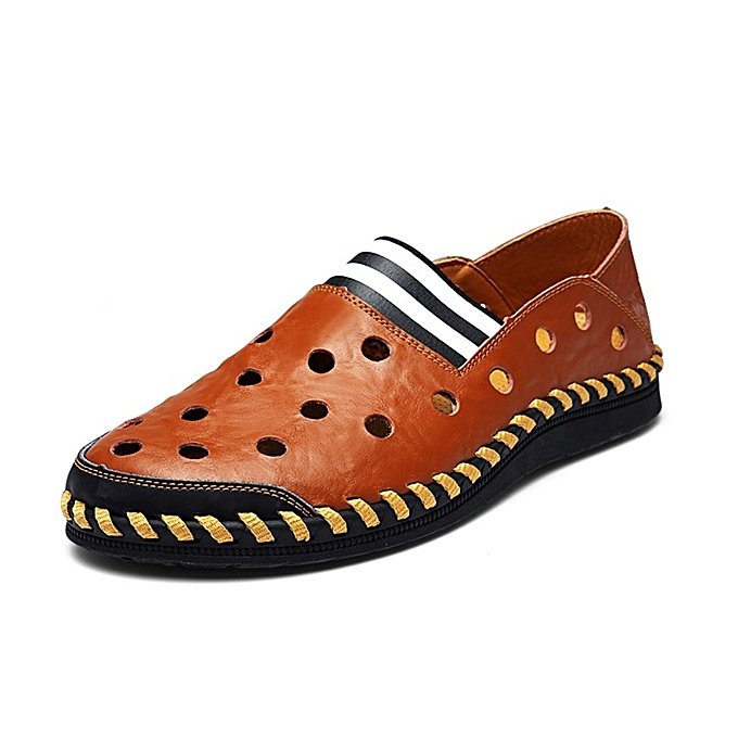 Fashion Men Casual Hollow chaussures Breathable Flats Soft Cortical Loafers à prix pas cher