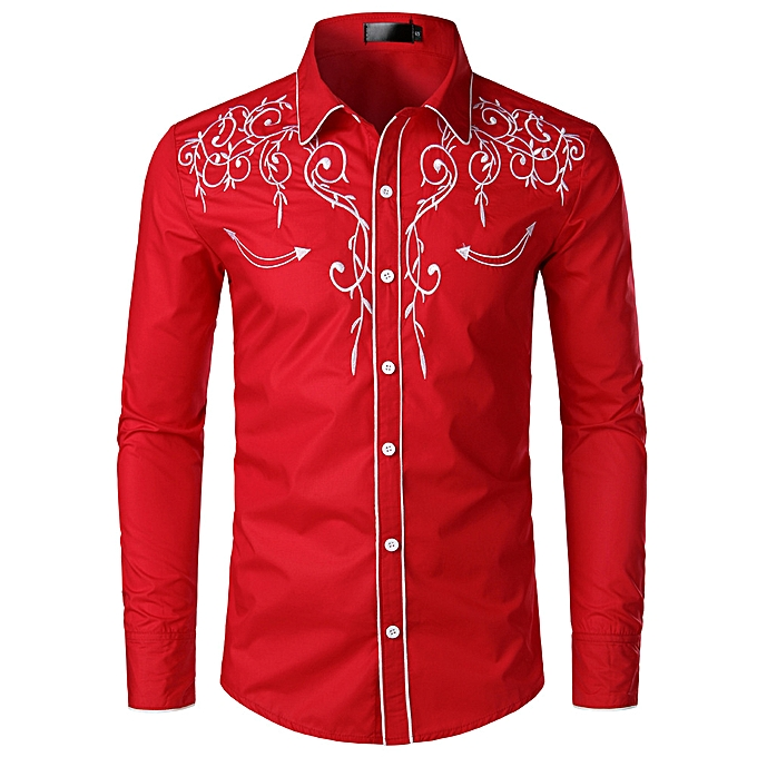 Fashion Fashion new trend hommes long-sleeved embroidery shirt—rouge à prix pas cher
