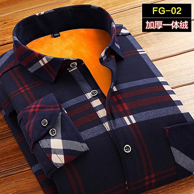 mode Hommes& 039;s manche longue lining plus velours thick Hommes& 039;s winter print warm shirt à prix pas cher