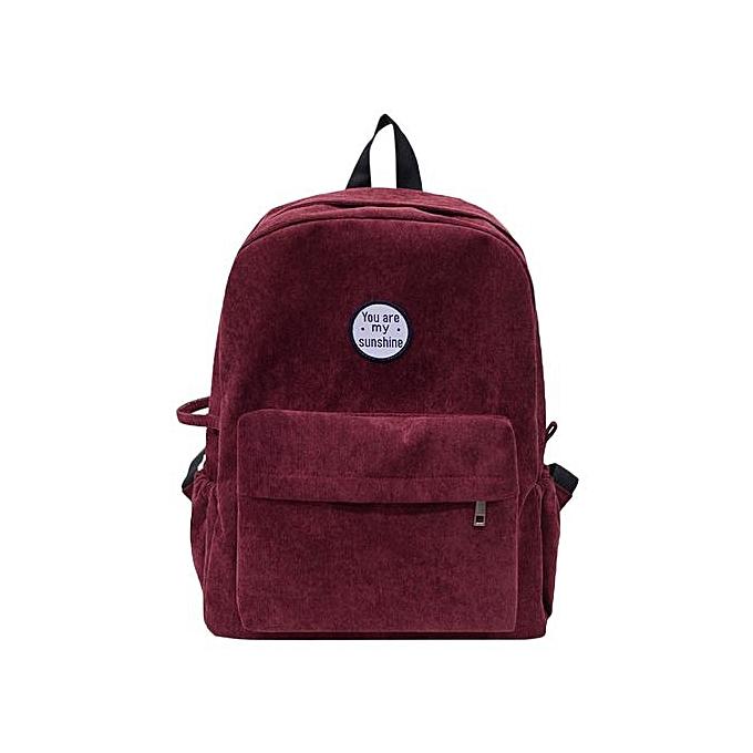 Fashion Singedanfemmes Girls Preppy Corduroy Shoulder Bookbags School Travel Backpack Bag -Wine à prix pas cher