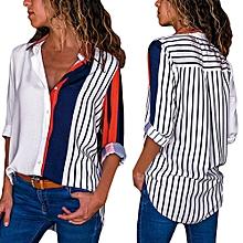 72ac722bb6 Xiuxingzi Womens Casual Long Sleeve Color Stripe Button T Shirts Tops Blouse